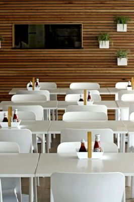 Modern Clean Cafe Using White POP Wipe Clean Seating