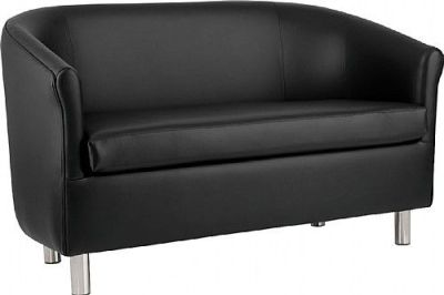 Tritium Black Faux Leather Sofa