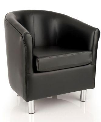 Tritium Black Leather Tub Chair