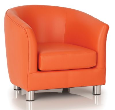 Tritium Orange Faux Leather Tub Chair