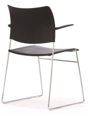 Elios General Use Black Chair With Chrome Wire Frame