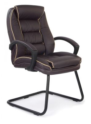 Fredo Bergundy Leather Visitor Chair With Cream Piping On A Black Cantilever Frame