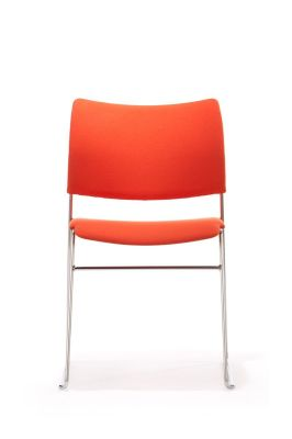Elios Meeting Chair In Orange Material With Chrome Frame