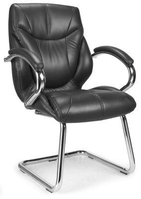 Banton Stylish Black Leather Visitor Chair With Matching Padded Armrests