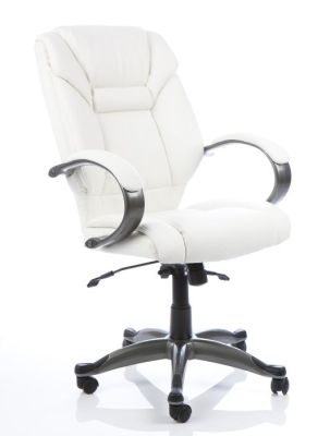 Galway Executive Swivel Chair In White Leather With Designer Gun Metal Arms With Leather Padding