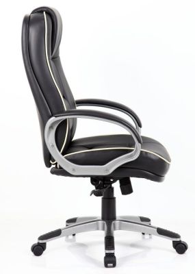 Drewster Executive Chair In Black Leather With Padded Arms With Gun Metal Finish