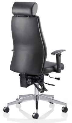 Orion Black Leather Ergonomic Chair With Headrest