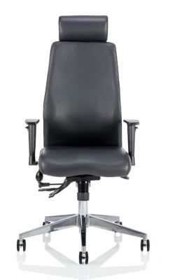 Orion Black Leather Ergonomic Chair With Head Rest Front Shot