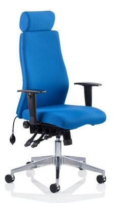 Orion Blue Fabric Ergonomic Chair With Headrest