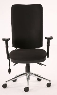 Chiro High Back Ergonomic Computer Chair With T Bar Arms And Black Upholstery On A Chrome Base With Castors