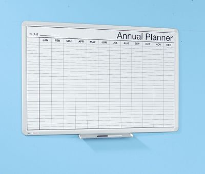 Annual Whiteboard Planner With Pen Holder And Gridlines