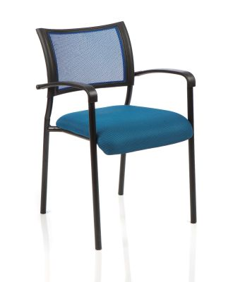 Brunswick Meeting Room Chair With Blue Mesh Back, Blue Seat And Black Legs And Arm Supports