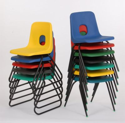 Ethel Skid Frame Poly Chairs Stacked