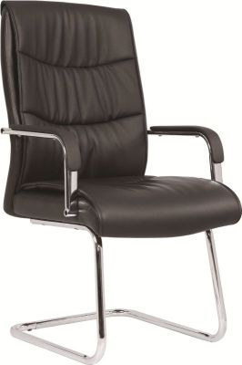 Moorland Black Leather Visitors Chair