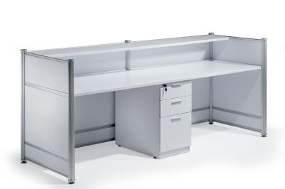 Nexus High Gloss White Reception Desk Rear