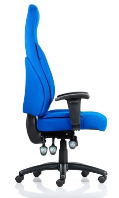 Galaxy Blue Fabric High Back Ergonomic Chair Side View