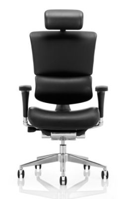 Ergo D Black Leather Ergonomic Task Chair Front View