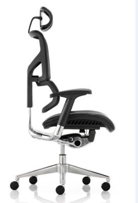 Ergo D Black Leather Ergonomic Chair Side View
