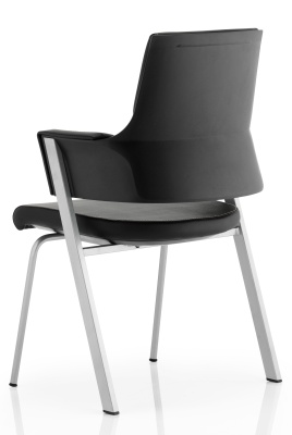 Starlight Black Leather Visistors Chair Rear View