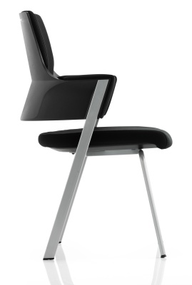 Stralight Black Fabric Conference Chair Side View