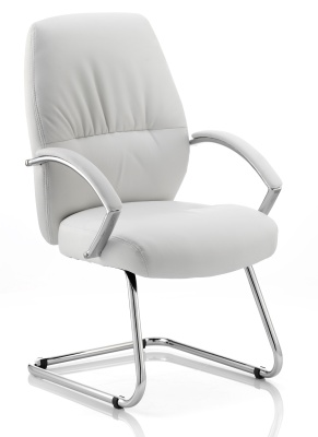 Oasis White Leather Visitors Chairs