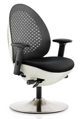 Ovum Designer Mesh Chair With A White Base And Black Mesh Back