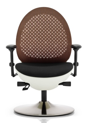 Ovum Designer Mesh Chair With A White Frame And Orange Back Front View