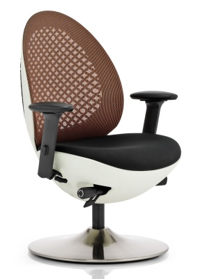Ovum Mesh Chair With An Orange Mesh Back And White Frame Side Angle Front