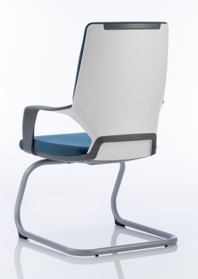 Carbon Blue Fabric Visitors Chair Back Angle