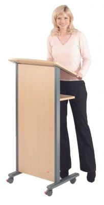 Mobile Lectern With Front Panel,castors, Sloped Reading Shelf