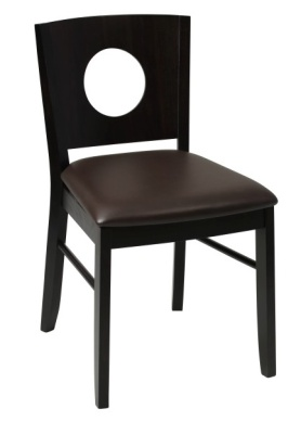Polo Wooden Dining Chair With A Wenge Frame And Brown Leather Seat