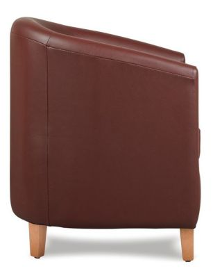Tiger Brown Leather Tub Chair Side Shot