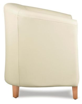 Tiger Cream Leather Tub Chair Side Shot