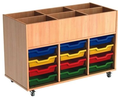 Mobile Busybase Mobile Book And Tray Storage With Shallow Coloured Trays