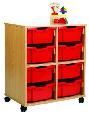 All Sorts Classroom Stackable Unit With 8 Deep Red Trays