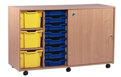 Multi Tray Storage Unit 1 With Lockable Sliding Door