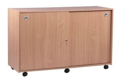 Mobile Classroom Multi Tray Storage Unit 3 With Lockable Sliding Doors