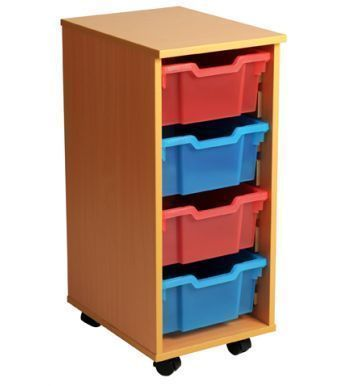Aztec 4 High Deep Tray Storage Unit With Coloured Drawers