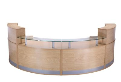PB Deluxe Reception Desk In Crown Cut Oak