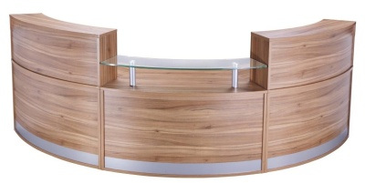PB Deluxe Reception Desk Config 2 In Americal Walnut