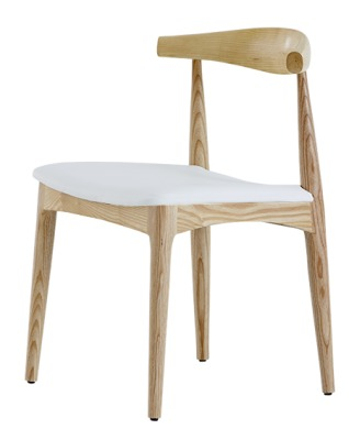 Elbow Chair Light Ash Frame Ivory Faux Leather Seat