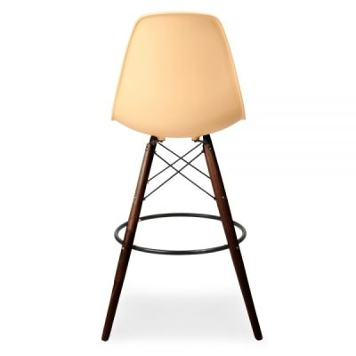 Dsw High Stool Peach Seat And Walnut Legs Rear View