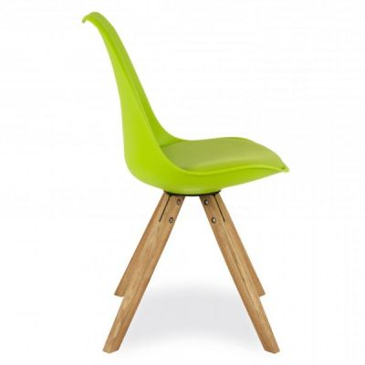 Pyramid Style Chair Lime Green Sdeat Side Cview