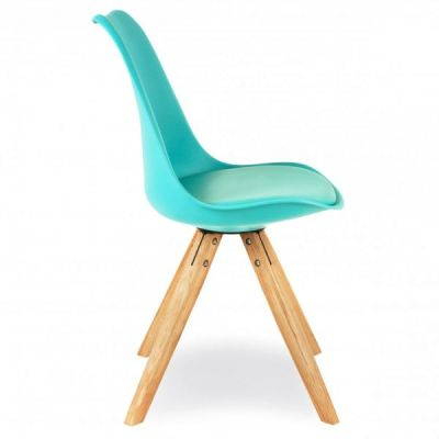 Pyramid Chair With A Turquoise Seat Side View