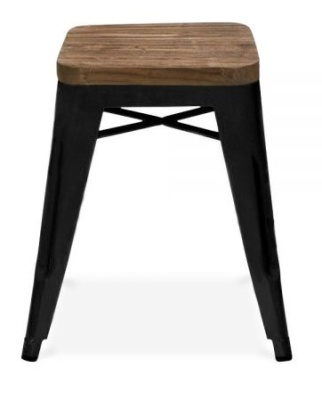 Xavier Black Low Stool With A Wooden Seat