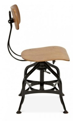 Vintage Industrial Toledo Stool With A Wooden Seat And Back
