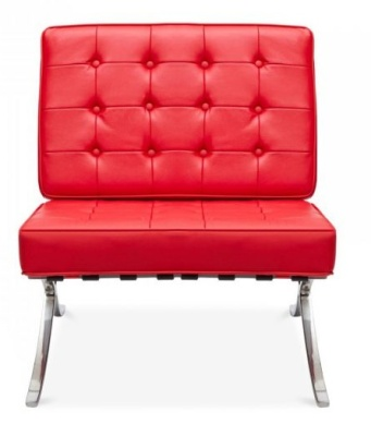 Barcelona Red Faux Leather Chair Front