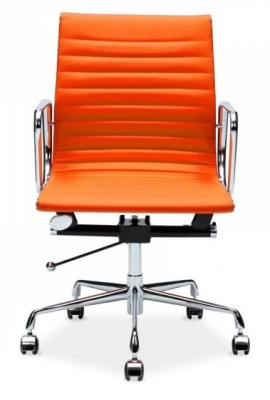 Aria Exective Mid Back Chair In Orange Leather