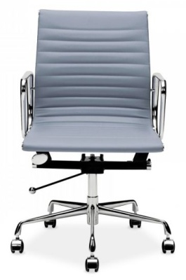 Eames Mid Back Leather Chair In Grey