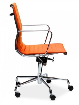 Eames Designer Ribbed Leather Chair In Orange